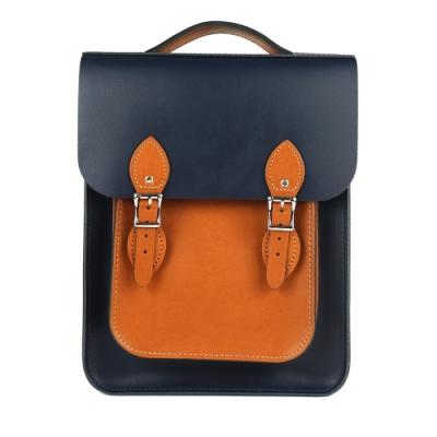The Leather Satchel 英國原裝手工牛皮經典配色款後揹包 手提包 深藍棕