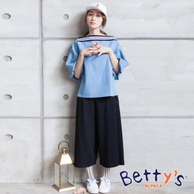 betty's貝蒂思 側拉鍊彈性鬆緊寬褲(黑色)