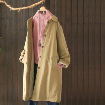 素色燈芯絨翻領夾棉風衣中長版寬鬆加厚棉服外套-設計所在