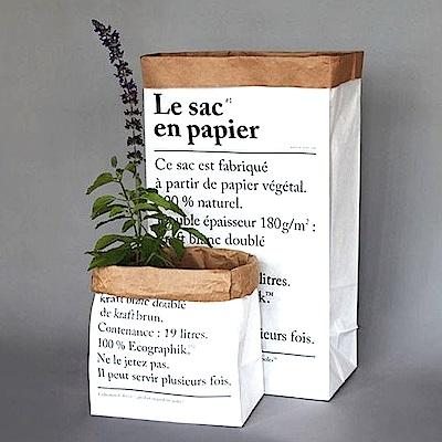 收納職人 創意北歐ins風雙層加厚收納裝飾牛皮紙袋(法文)2入組