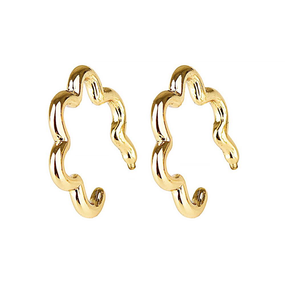 kate spade經典簍空雲朵設計穿式耳環(金)