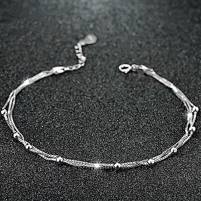 米蘭精品 925純銀腳鍊-時尚簡約圓珠