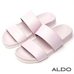 ALDO 簡約真皮鞋面寬版鏤空厚底懶人涼拖鞋~薰衣草紫