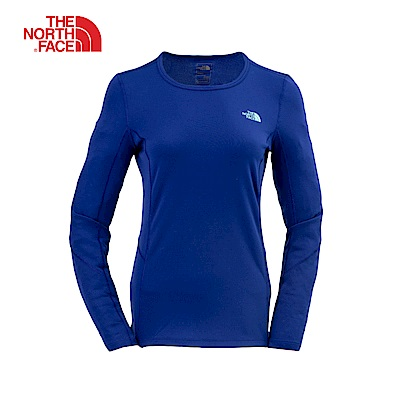 The North Face北面女款藍色圓領長袖上衣|3RJ3ZDE