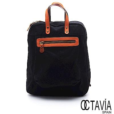 OCTAVIA 8 真皮 - 尼采牛津布系列 遇見最好的自己手提後背包 - 完美黑