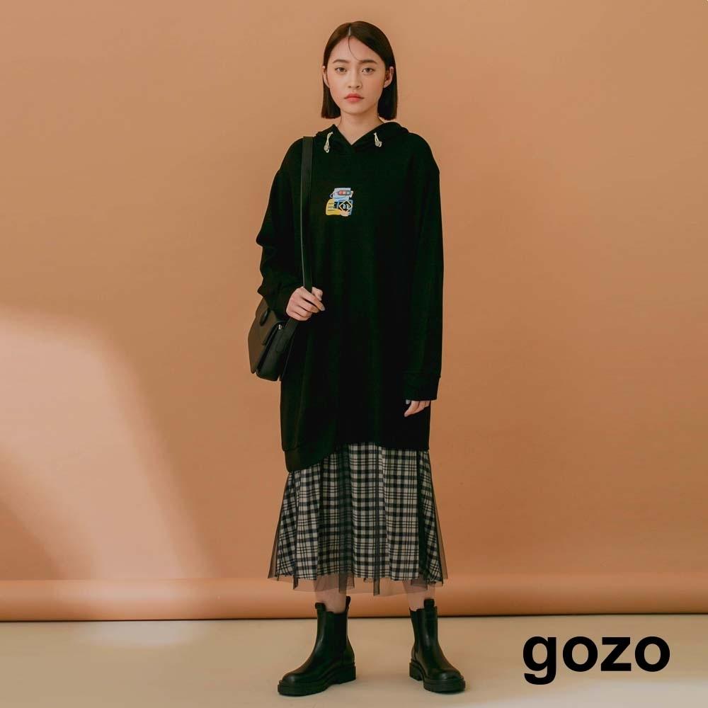 gozo-亮色帽繩印花連帽衣(兩色)