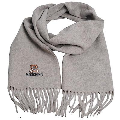 MOSCHINO 義大利製美麗諾羊毛小熊圖騰字母LOGO刺繡圍巾(麥芽色)