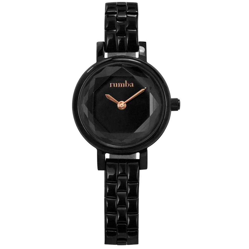 rumba time 紐約品牌 小巧細緻 切割玻璃鏡面 不鏽鋼手錶-鍍黑/23mm