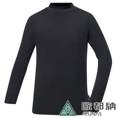 【ATUNAS 歐都納】男熱流立領保暖貼身長袖內著衣/發熱衣A1UCAA02M黑