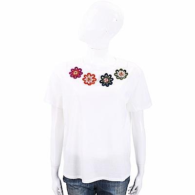 Max Mara-WEEKEND 多彩編織花點綴白色棉質T恤