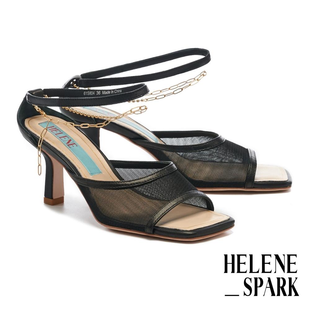 拖鞋 HELENE SPARK 性感氣息網紗金屬鏈條繫帶方頭高跟拖鞋-黑