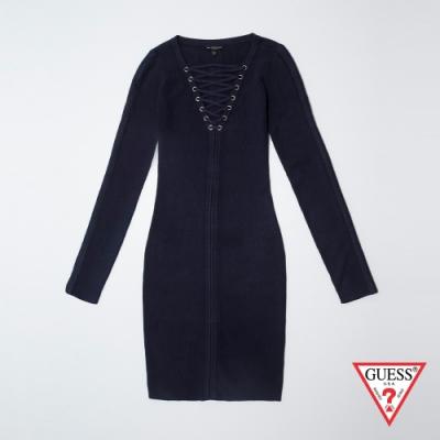GUESS-女裝-綁帶羅紋針織長袖連身裙-黑