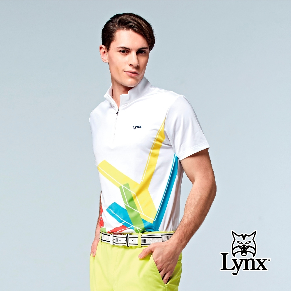 【Lynx Golf】男款吸濕排汗合身版彩色Lynx字樣短袖立領POLO衫-白色