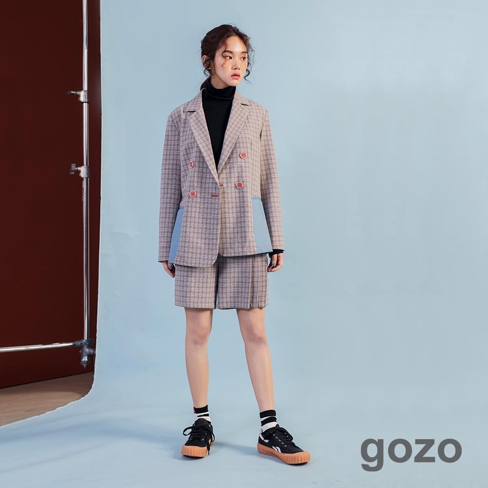 gozo 經典格紋打折短褲(咖啡)