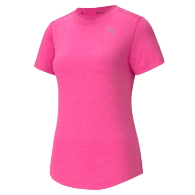 PUMA-女性慢跑系列麻花短袖T恤-夜光粉-歐規