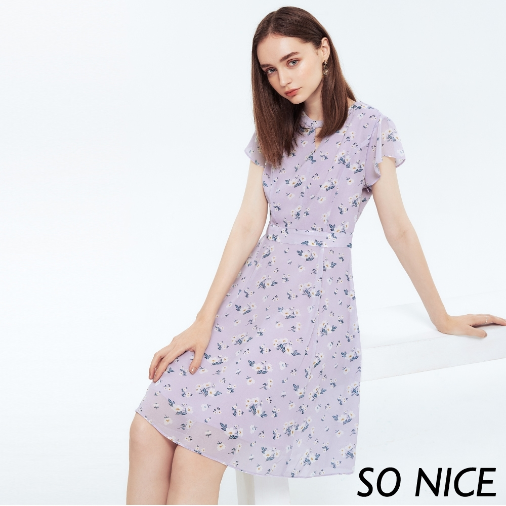 SO NICE甜美花草印花雪紡洋裝