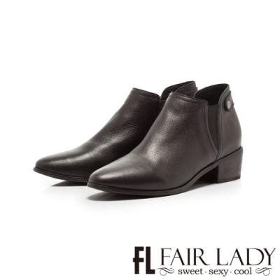Fair Lady側鬆緊帶素面真皮粗跟短靴 黑
