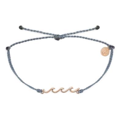Pura Vida 美國手工 精緻玫瑰金WAVE 灰藍色臘線可調式衝浪海灘防水手鍊手繩