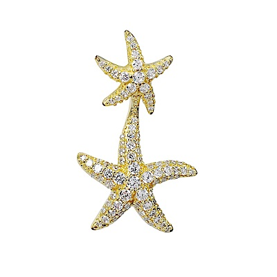 apm MONACO法國精品珠寶 金色雙海星單邊耳環