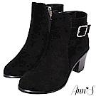 Ann'S微涼優雅-氣質銀方扣粗跟短靴-黑