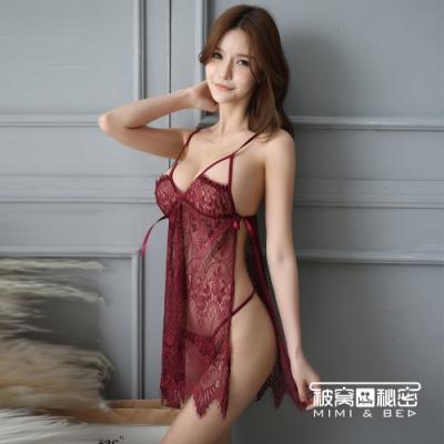 性感睡衣 輕透睫毛蕾絲側開叉吊帶睡裙。酒紅色 被窩的秘密
