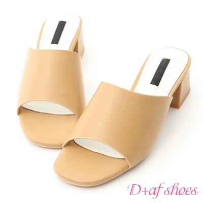 D+AF 韓風氣息.簡約一字寬版中跟涼拖鞋*駝