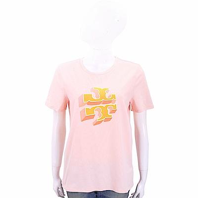 TORY BURCH APRIL 雙T植絨印花粉色棉質短T恤