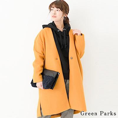 Green Parks 氣質V領長版側開叉大衣