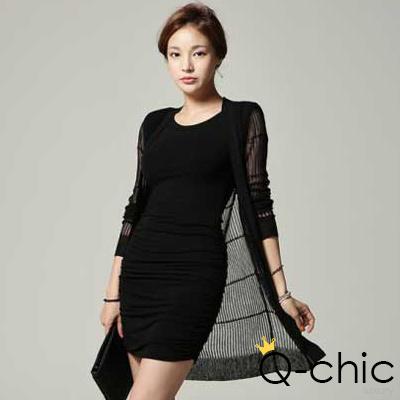 正韓 竹節直紋針織長版罩衫外套 (黑色)-Q-chic