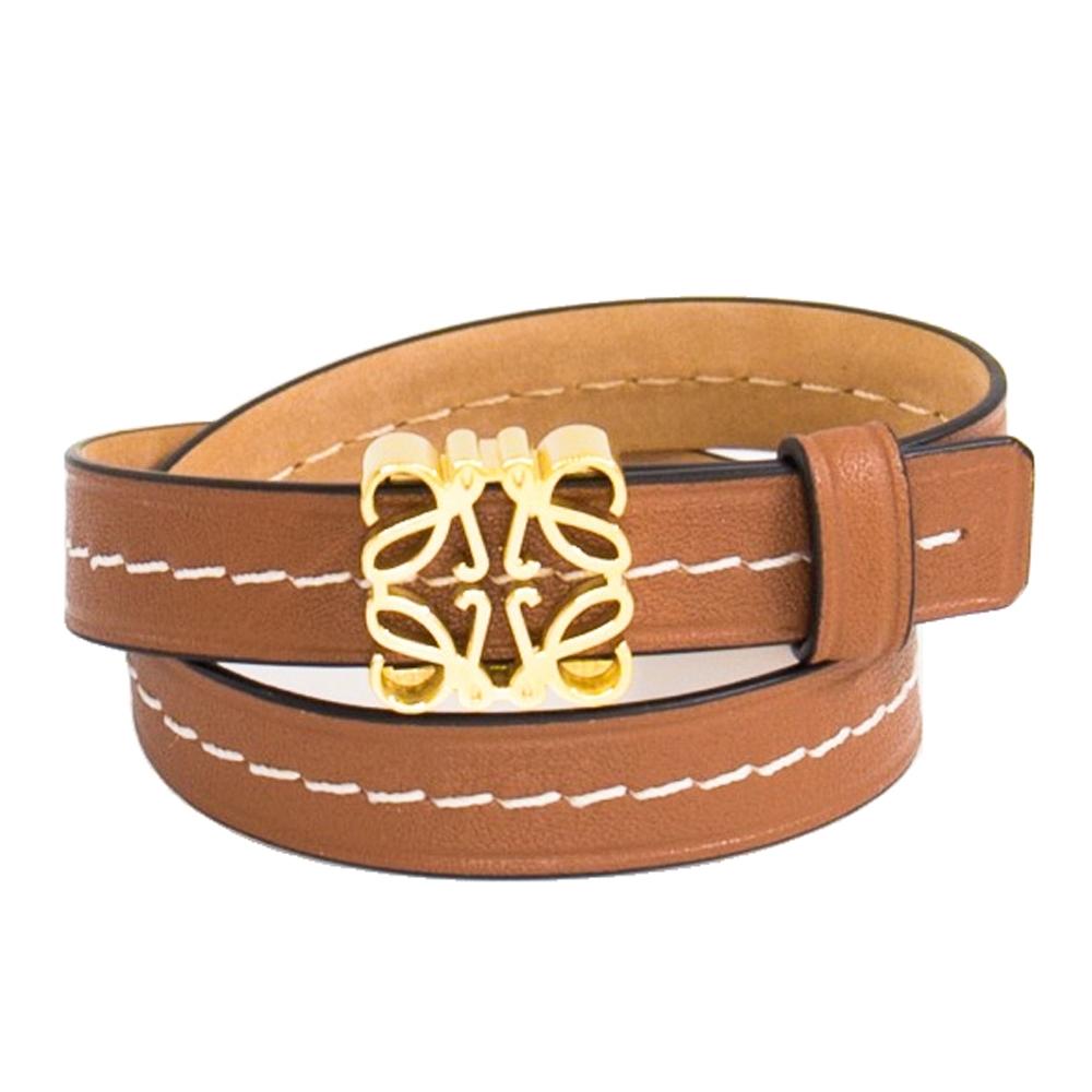 Loewe 經典雕花 小牛皮多圈手環 (棕褐色 x 金色金屬) Anagram bracelet in calfskin Tan/Gold