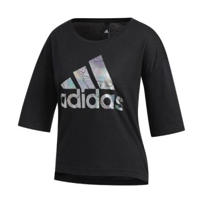 adidas T恤 Badge of Sport Tee 女款 愛迪達 大LOGO 基本款 五分袖 圓領 黑 銀 FM1656