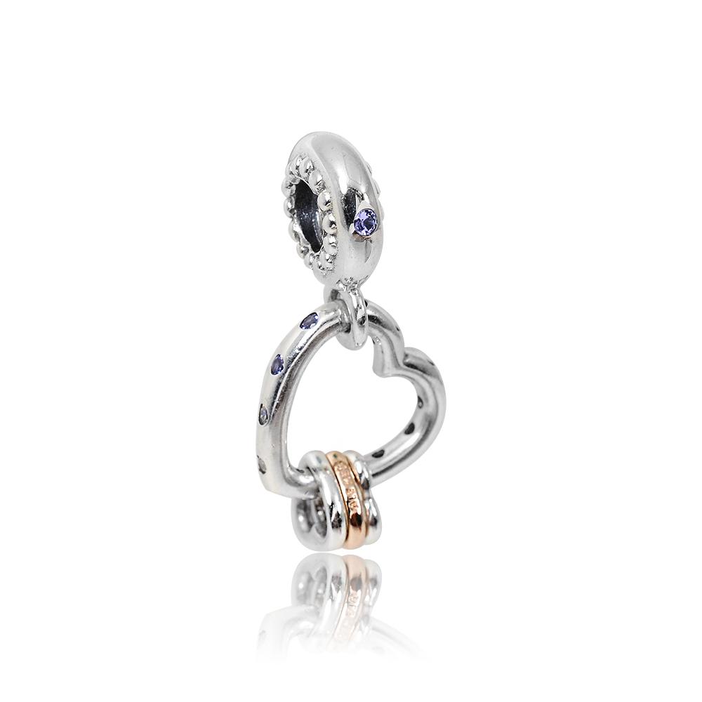 Pandora 潘朵拉 閃耀鏤空愛心玫瑰金 鑲鋯垂墜純銀墜飾 串珠