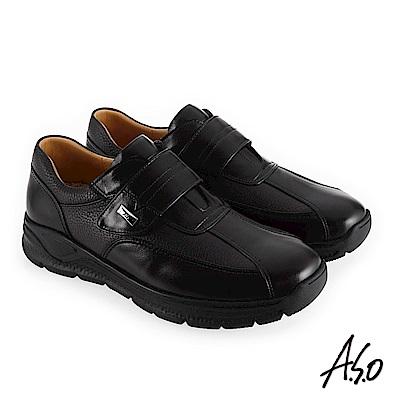 A.S.O 3A全掌氣墊 減壓抗震休閒鞋 黑