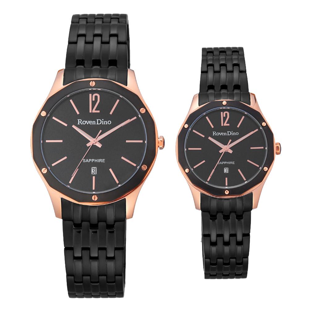 Roven Dino羅梵迪諾 奢華時刻風尚對錶-黑X玫瑰金(RD735BG-396)