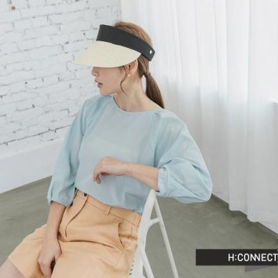 H:CONNECT 韓國品牌 女裝 -袖口抓皺設計圓領襯衫-藍