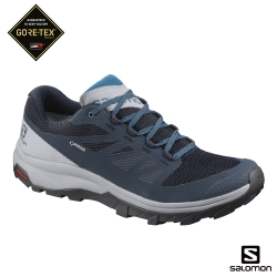 Salomon 男 GORETEX 低筒登山鞋 OUTline 海軍藍