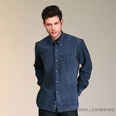 ROBERTA諾貝達 進口素材 保暖舒適 百搭長袖厚襯衫RDC46-38深藍