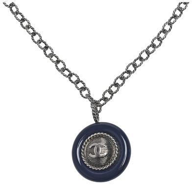 CHANEL 經典圓形雙C LOGO造型長項鍊(復古銀)