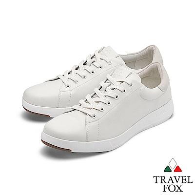 TRAVEL FOX(男) 輕雲系列 超軟牛皮輕量舒適運動鞋 - 悠活白