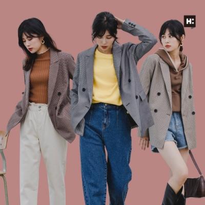 【時時樂】H:CONNECT 韓國品牌 女裝 -復古翻領排扣西裝外套-五色