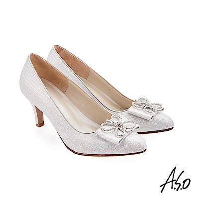 A.S.O 璀璨宴會 精緻鑽飾金箔羊皮高跟鞋 銀