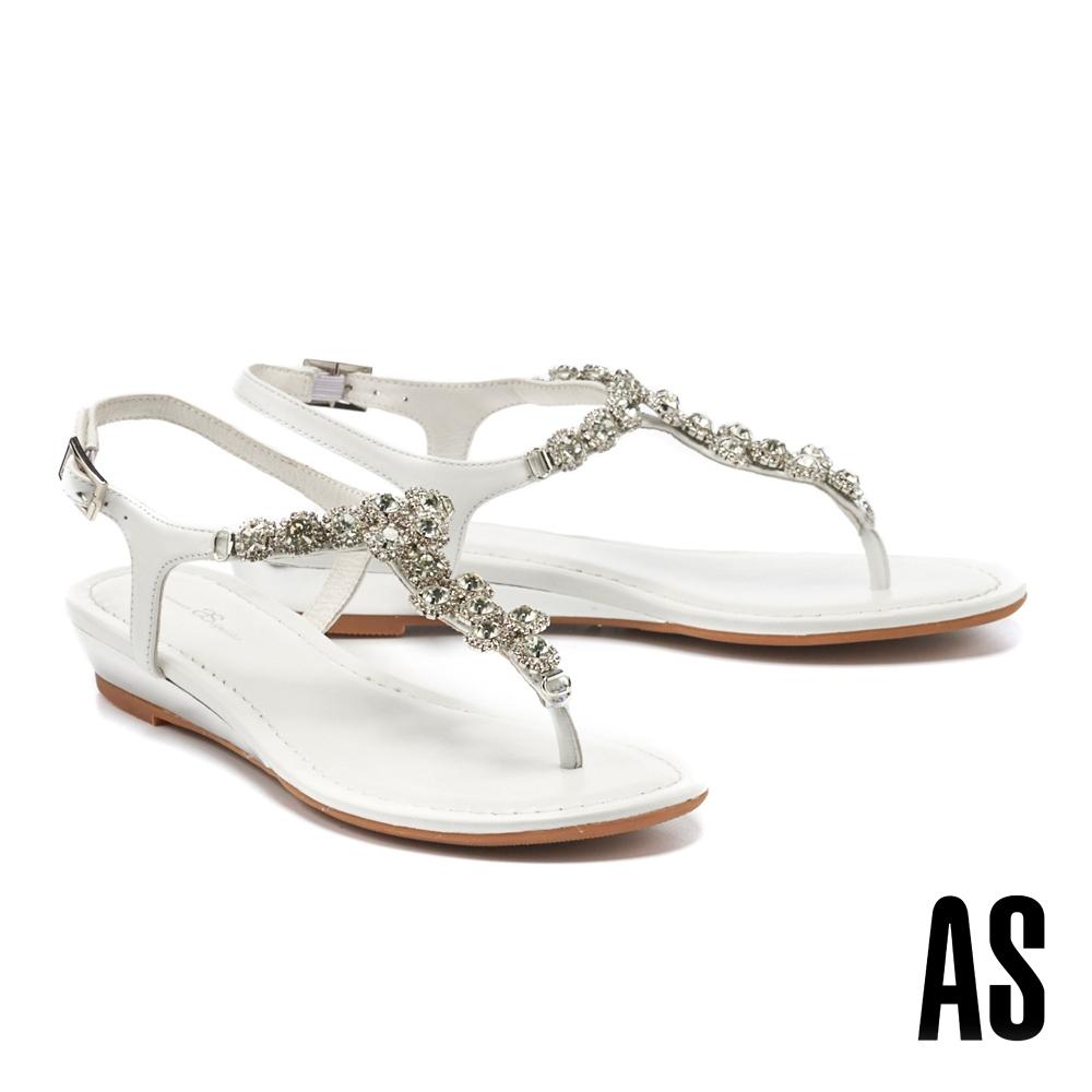 涼鞋 AS 奢華時尚晶鑽全真皮楔型夾腳涼鞋-白