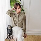 立領壓褶隱藏釦長袖抓皺素色雪紡襯衫.2色-OB大尺碼