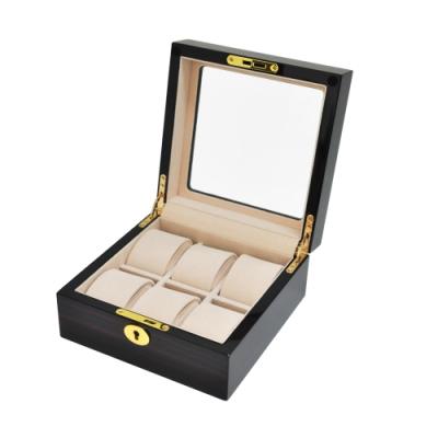 WISH 手錶收藏盒/外出盒 ‧鋼琴烤漆方型 6只裝-紅木紋