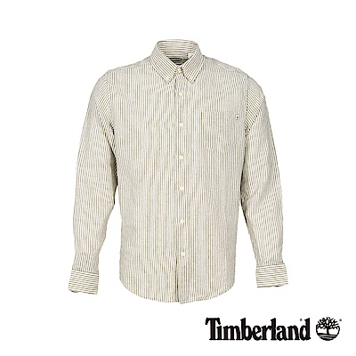 Timberland 男款素色黑直條紋亞麻長袖襯衫|A1VVU