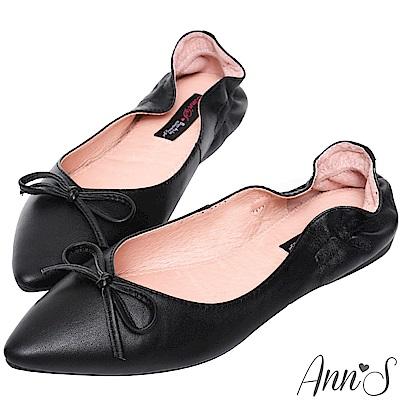 Ann'S氣質V剪裁芭蕾蝴蝶結真皮尖頭平底鞋-黑