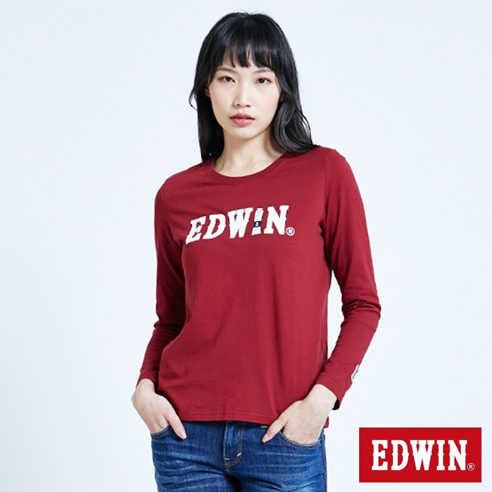 EDWIN 塗鴉LOGO 薄長袖T恤-女-朱紅色