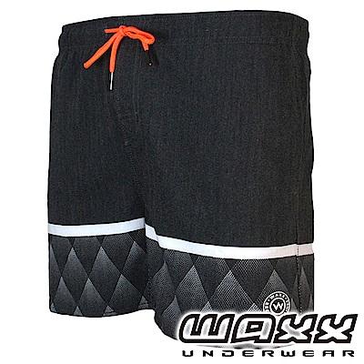 WAXX 衝浪系列-黑豹雙色拼接快乾型男海灘褲(15英吋)