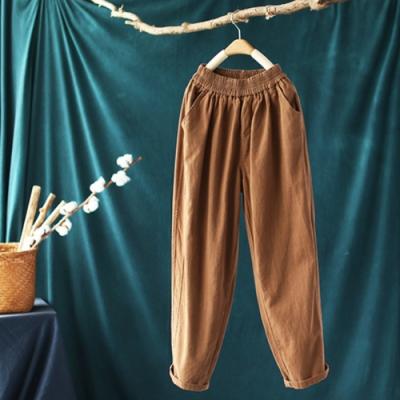 寬鬆純棉鬆緊腰韓版顯瘦哈倫長褲-設計所在