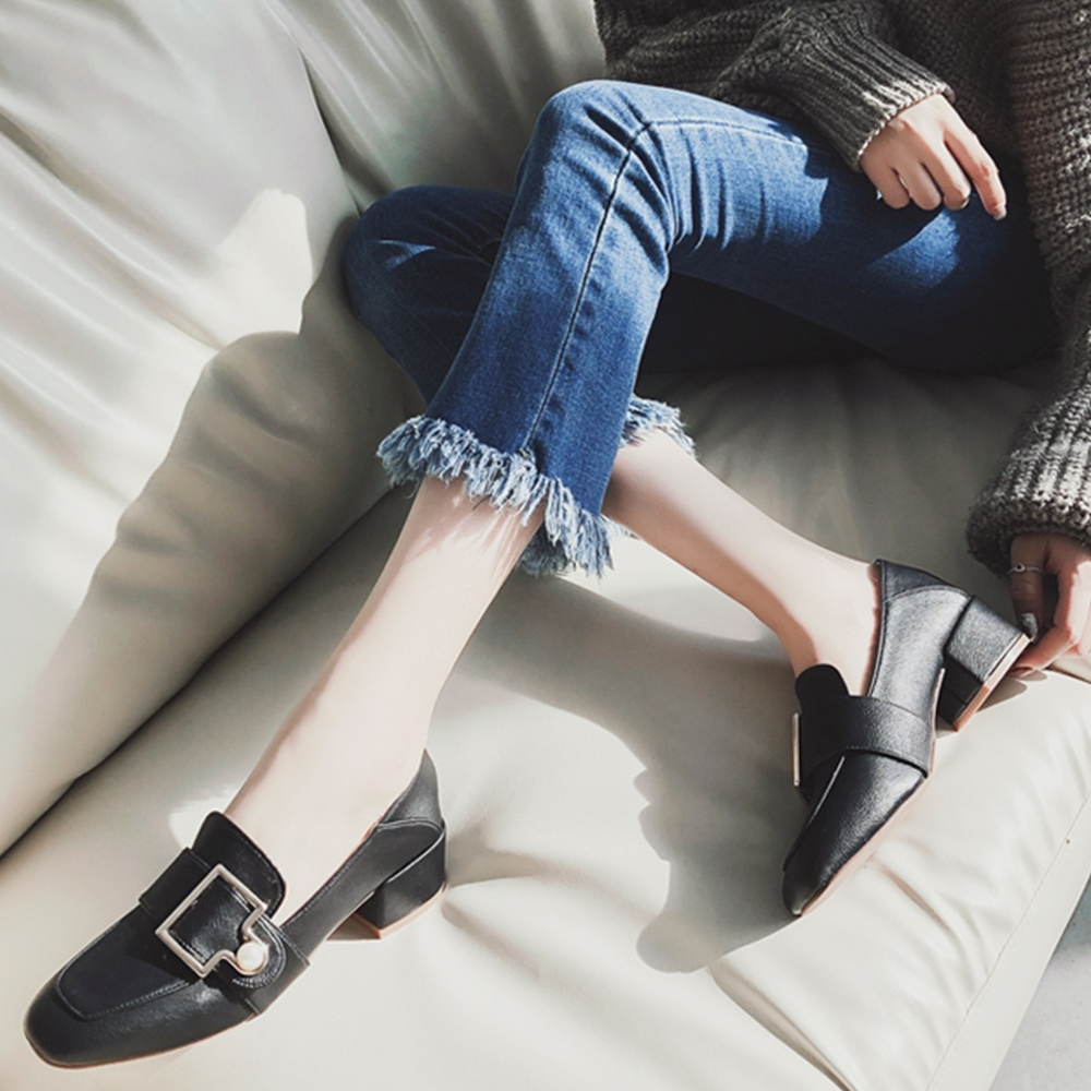 LN 現+預 方頭兩穿珍珠粗跟鞋&↘ product image 1
